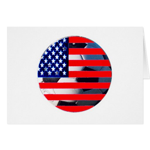 Soccer Ball & USA Flag2 The MUSEUM Zazzle White-C Greeting Card