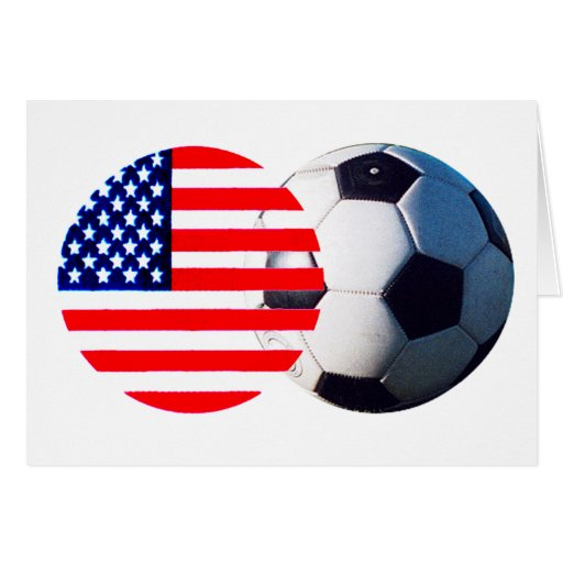 Soccer Ball & USA Flag The MUSEUM Zazzle Greeting Card