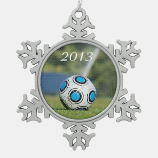 Soccer Ball with Goal Snowflake Pewter Christmas Ornament