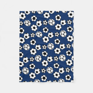 Soccer balls blue white fleece blanket