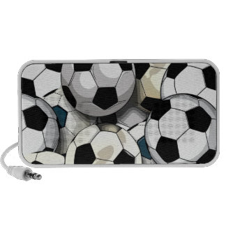Soccer Balls Collage Portable Speakers