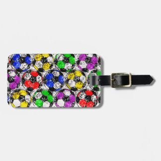 SOCCER BALLS IN CHAOTIC COLOR LUGGAGE TAG