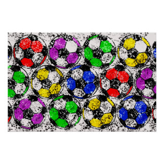 SOCCER BALLS IN CHAOTIC COLOR POSTER