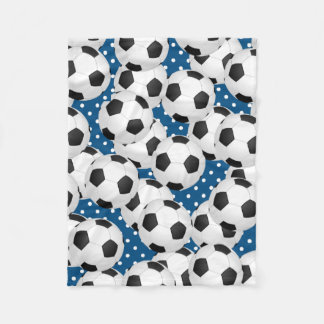 Soccer Balls on a Blue Polka Dot Background Fleece Blanket