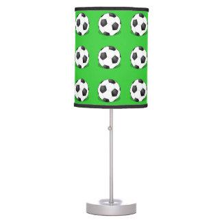 Soccer Balls On Green Background Table Lamp