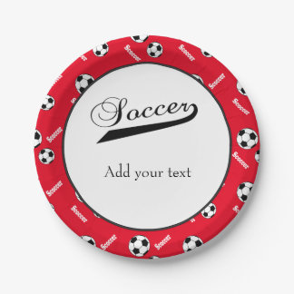 Soccer Balls on Red Background 7 Inch Paper Plate