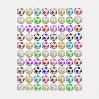 Soccer Balls Pattern Fleece Blanket