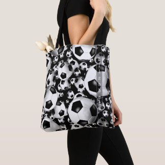 soccer balls patterned tote bag with name