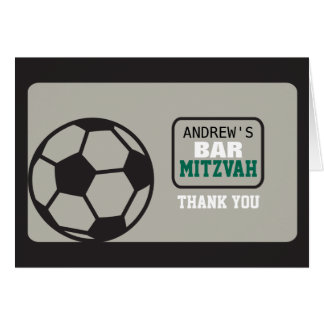 SOCCER Bar Mitzvah Invitation Thank You Card