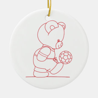 Soccer Bear Redwork Ceramic Ornament