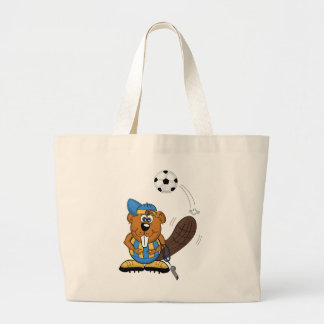 soccer beaver large tote bag