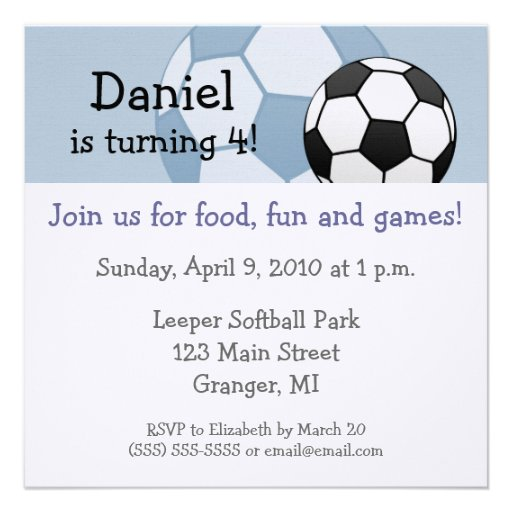 Soccer Birthday Party Invitations 5.25 in