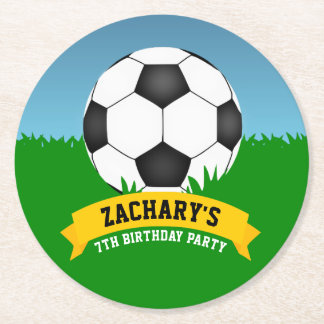Soccer Birthday Party Round Paper Coaster