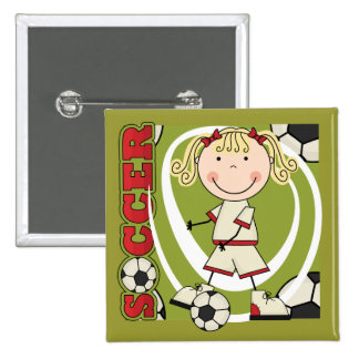 SOCCER - Blond Girl T-shirts and Gifts Pinback Button
