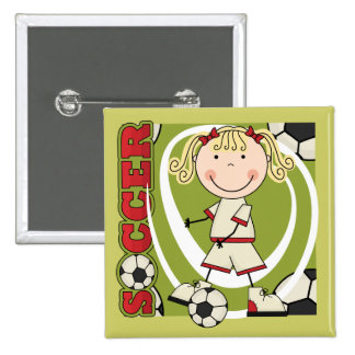 SOCCER - Blond Girl T-shirts and Gifts Buttons