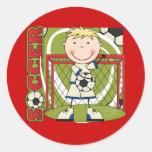 SOCCER - Blonde Boy Goalie Tshirts and Gifts Round Sticker