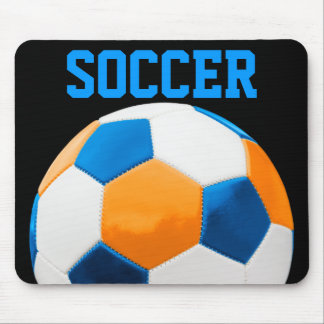 Soccer Blue and Orange Mouse Pad