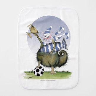 soccer blues kitty burp cloth