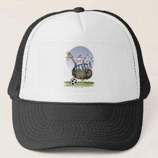 soccer blues kitty trucker hat