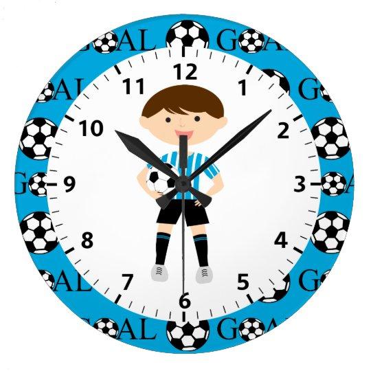 Soccer Boy 1 Light Blue and White Stripes Goal Large Clock