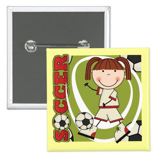 Soccer Brunette Girl T-shirts and Gifts Pinback Button