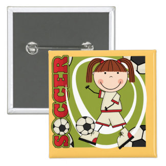 Soccer Brunette Girl T-shirts and Gifts Pins