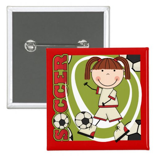 Soccer Brunette Girl T-shirts and Gifts Pinback Buttons
