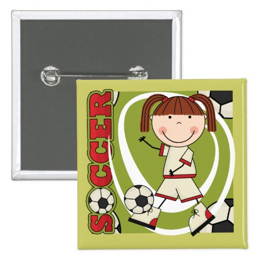 Soccer Brunette Girl T-shirts and Gifts Buttons