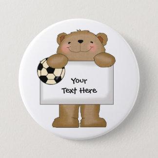 Soccer Bulletin Bear (customizable) 3 Inch Round Button