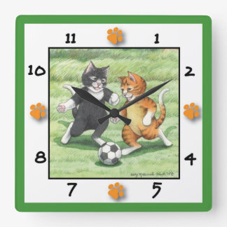 Soccer Cats Square Wall Clock