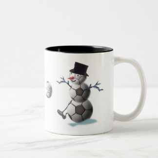 Soccer Christmas Snowman Two-Tone Coffee Mug