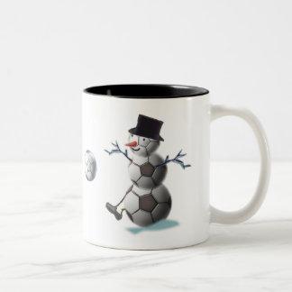 Soccer Christmas Snowman Two-Tone Mug