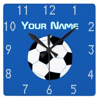 Soccer Clock: Navy Soccer Square Wall Clock