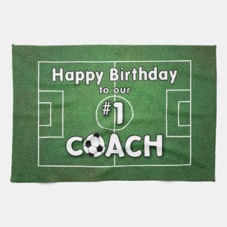 Soccer Coach Birthday with Grass Field and Ball Kitchen Towel