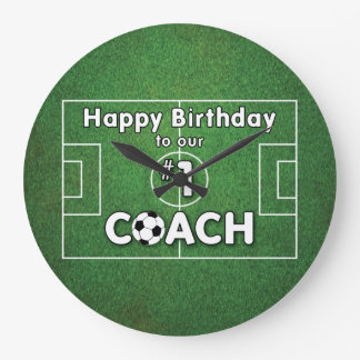 Soccer Coach Birthday with Grass Field and Ball Large Clock