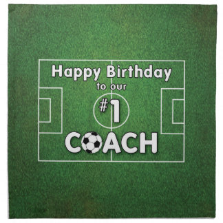 Soccer Coach Birthday with Grass Field and Ball Napkin