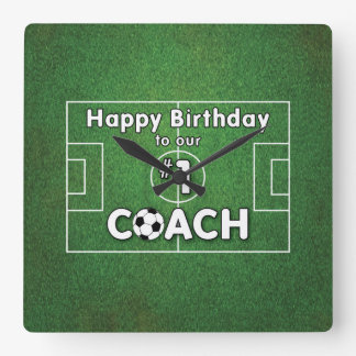 Soccer Coach Birthday with Grass Field and Ball Square Wall Clock
