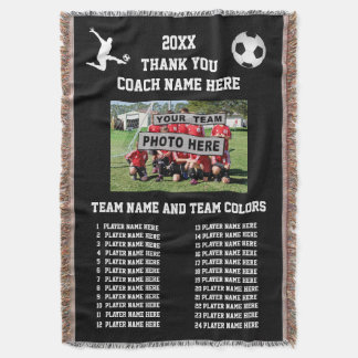Soccer Coach Gift Ideas Photo, All Player's Names Throw Blanket