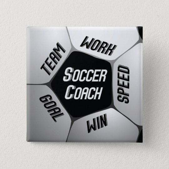Soccer Coach Thanks Large Ball 2 Inch Square Button