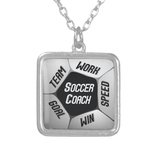 Soccer Coach Thanks Large Ball Silver Plated Necklace