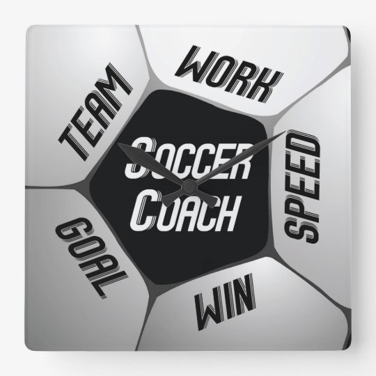 Soccer Coach Thanks Large Ball Square Wall Clock