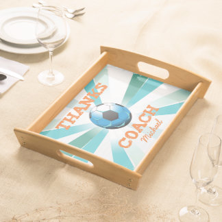 Soccer Coach Thanks, Orange on Teal, Blue Starburs Serving Tray