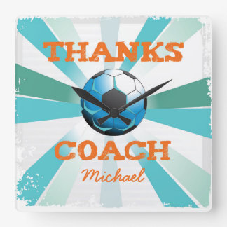 Soccer Coach Thanks, Orange on Teal, Blue Starburs Square Wall Clock