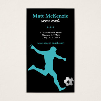 Soccer Coach (Turquoise) Business Card
