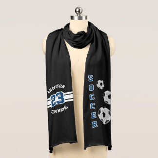Soccer Dark Blue Letter Personalize Scarf