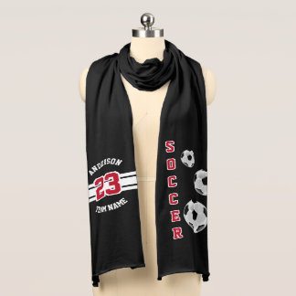 Soccer Dark Red Letter Personalize Scarf