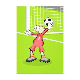 Soccer doorman doing an arc serve canvas print