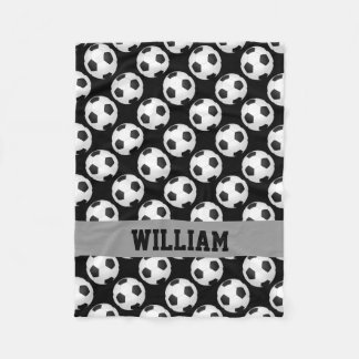 Soccer Fan Sports Personalized Name Black White Fleece Blanket