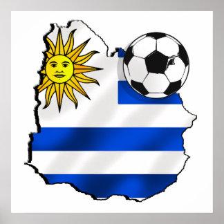 Soccer flag map of Uruguay gifts for Uruguayans Poster
