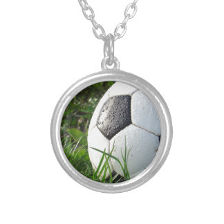 Soccer~ Foot Ball in field Silver Plated Necklace